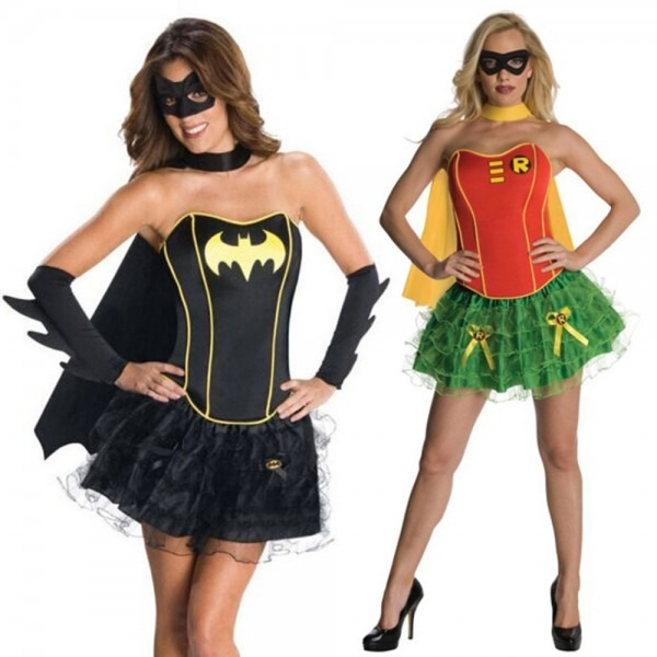 Batman V Superman Batgirl Costume Red & Green Robin Carrie Kelley