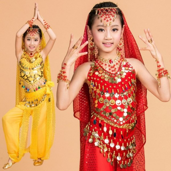 Belly Dance Children Indian Costume Set 5 Piece (top, Belt, Pants