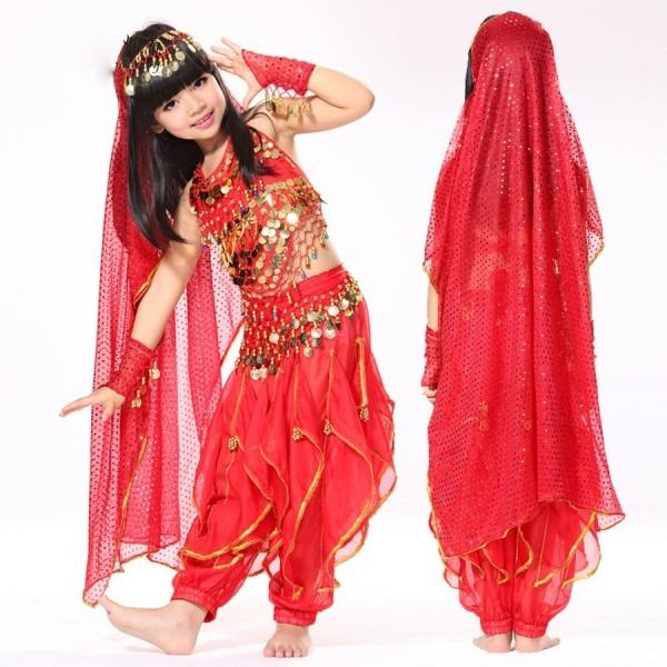Belly Dance Children Indian Costume Set 6 Piece (top, Belt, Pants