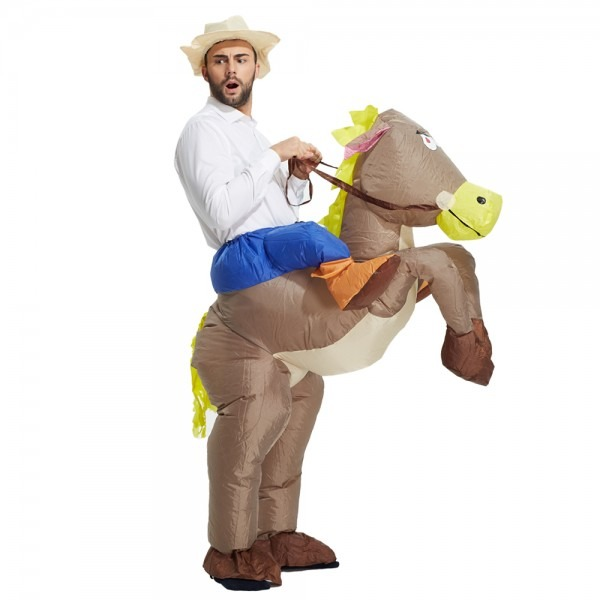 Best Sell Inflatable Cowboy Costume Ride On Horse Party Costume