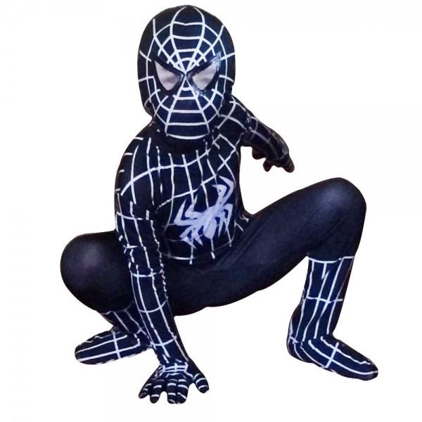 Black Spiderman Costume For Kids Full Body Zentai Suit Children