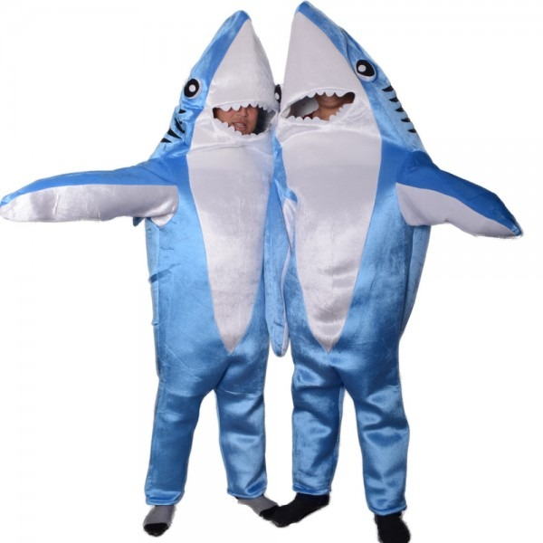 Blue Attack Adult Shark Costume Animal Party Cosplay Suit Mascot