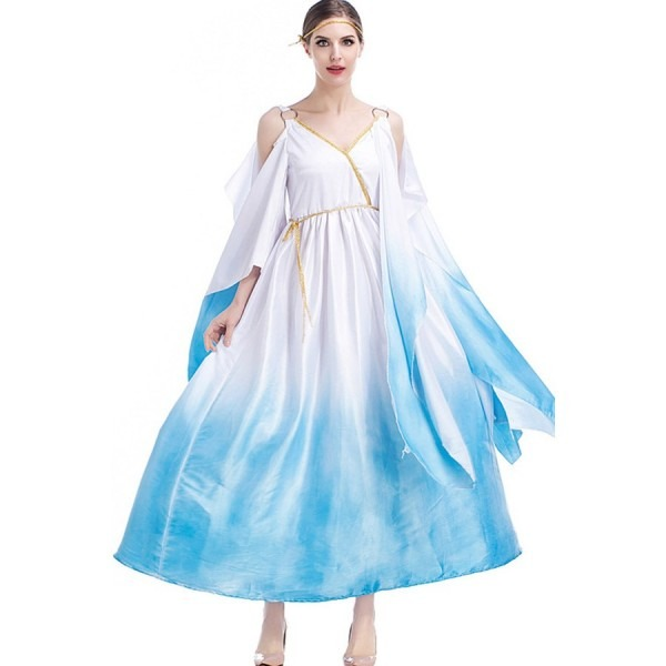 Blue White Greek Goddess Dress Halloween Costume  2blu36205