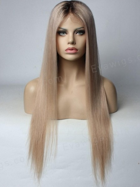 Custom Color] Ash Blonde Full Lace Human Hair Wig