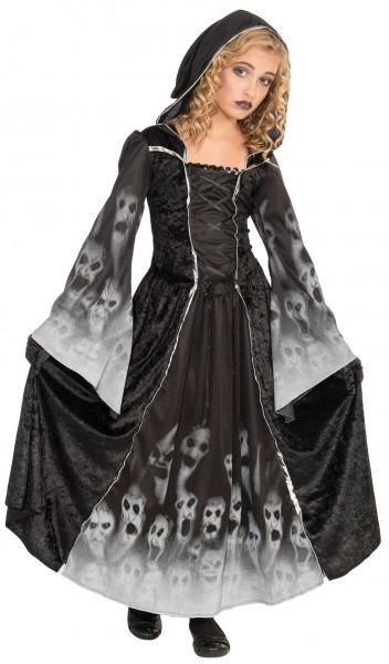 Grim Reaper Girls Fancy Dress Halloween Spooky Ghost Ghoul Kids