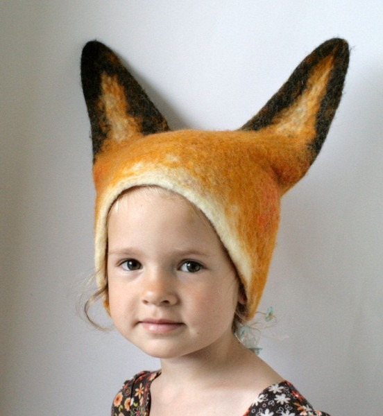 Realistic Felt Fox Animal Hat With Ears   Hand Felted Wool