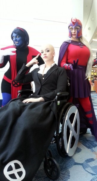 Genderbend Of Professor X Cosplayed By Selenity, Flanked By Two