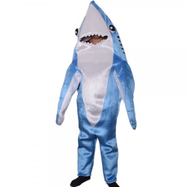 Child Adult Shark Costume Cute Mascot Blue Funny Cosplay Fleece