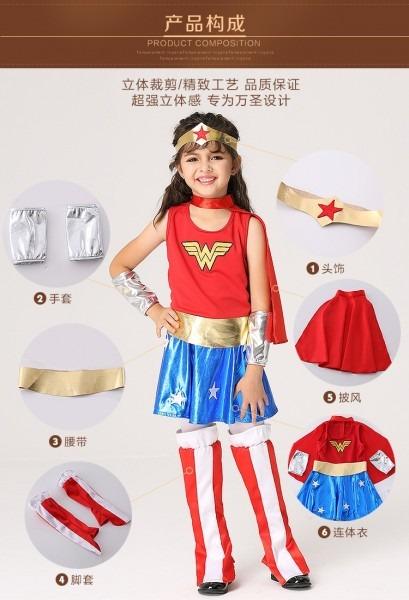 Children Hot Pink Superman Girl Dress,halloween Cosplay Party