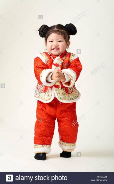 Chinese Baby Girl In Traditional Chinese New Year Outfit