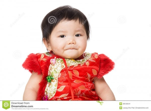 Chinese Baby Girl With Traditional Costume For New Year Stock