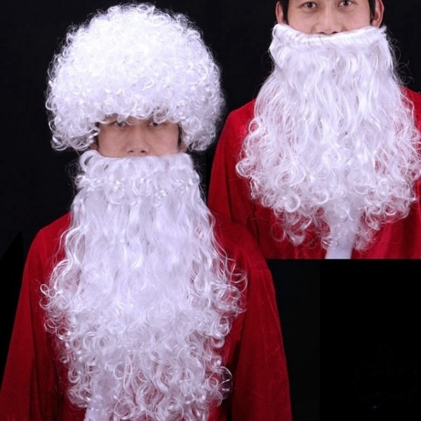Christmas Fans Adult Child Cosplay White Beard Santa Claus Hat For