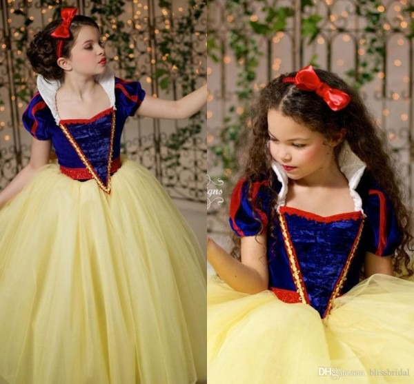 Classy Blue And Yellow Snow White Princess Flower Girl Dresses