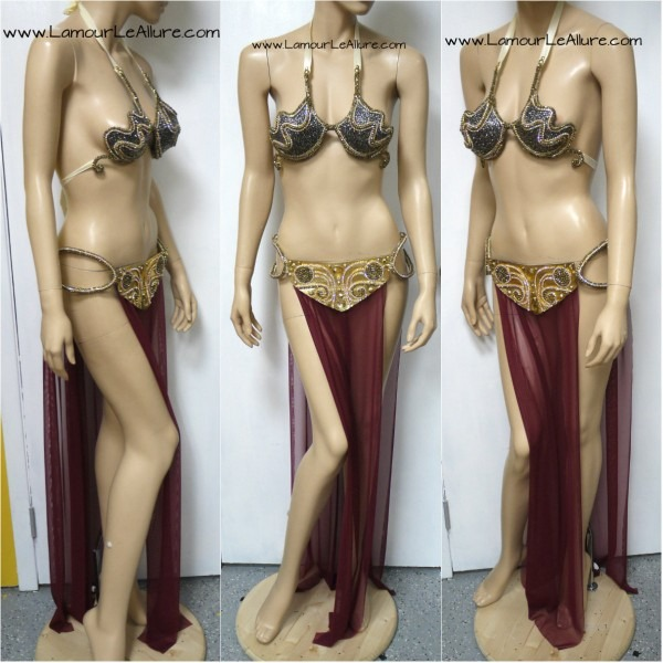 Star Wars Princess Leia Slave Diamond Samba Cage Bra Cosplay Dance