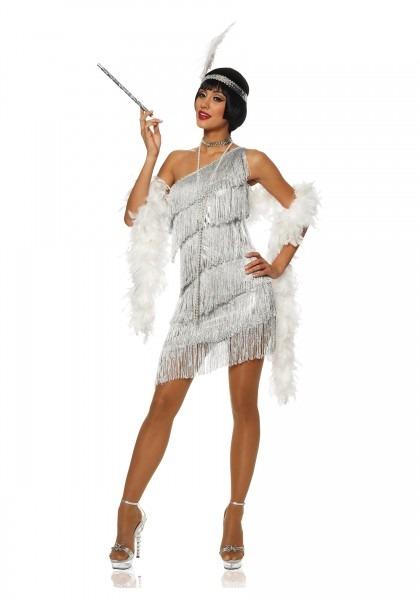 Dazzling Silver Flapper Adult Costume L
