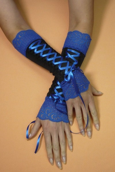 Black And Cobalt Corset Armwarmers, Gothic Costume Gloves With