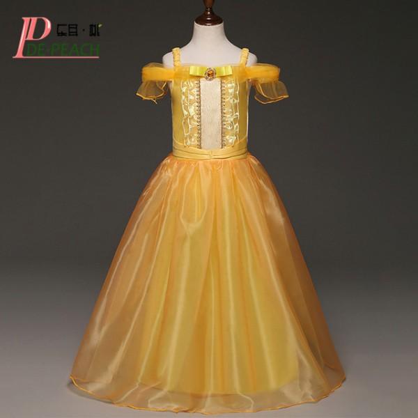 De Peach Long Style Baby Girls Dresses Kids Cosplay Costume