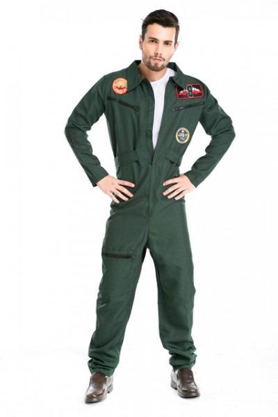 Deluxe Handsome Aviator Cosplay Costume Top Gun Fighter Pilot