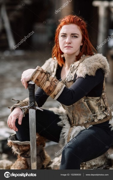Portrait Of A Girl In A Viking Outfit, Red Hair  — Stock Photo