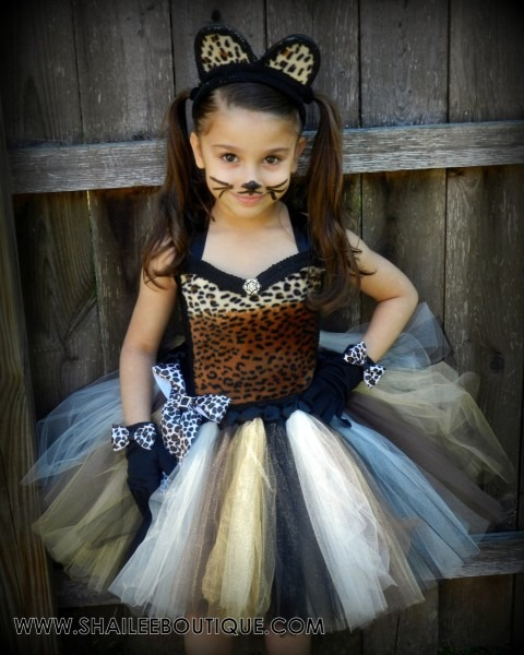 Cheetah Costume 2pc Set,leopard Tutu Dress,cat Birthday Party Tutu