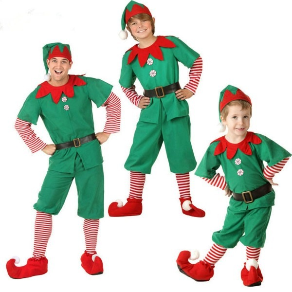 Family Matching Costume Christmas Suit Green Elf Santa Claus