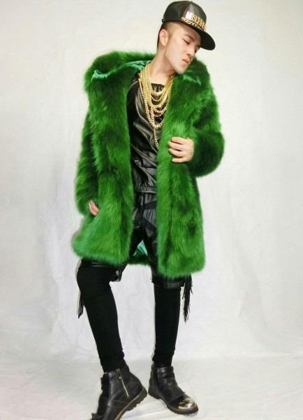 Fashion Men Design Fake Fur Long Jacket Male Singer Stage Show
