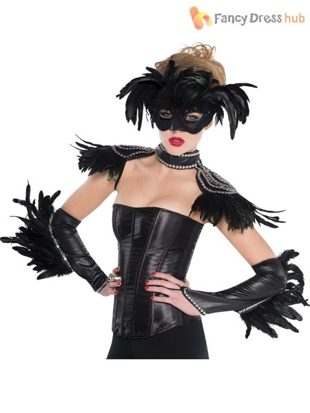 Ladies Sexy Black Raven Queen Halloween Fancy Dress Costume