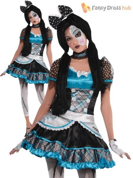 Childrens Shattered Doll Costume Girls Teen Halloween Fancy Dress