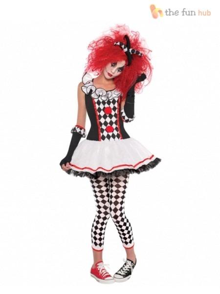 Ladies Harlequin Honey Costume Adults Jester Halloween Fancy Dress