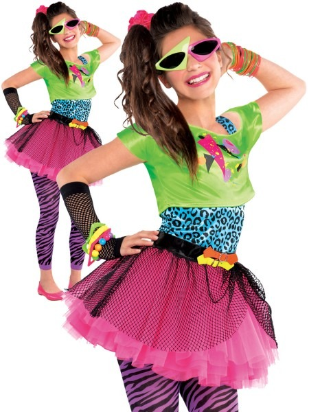 Childs Girl 80s Costume Totally Awesome Teen Neon Disco Retro