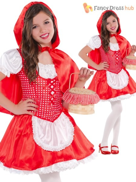 Girls Little Red Riding Hood Fancy Dress Costume Kids Fairytale