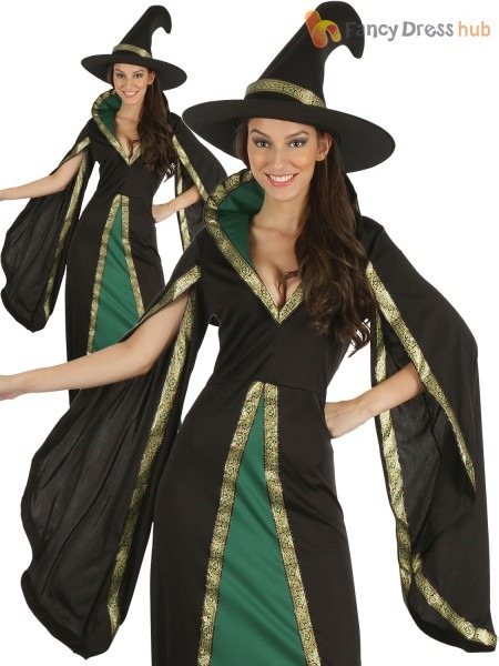 Ladies Medieval Witch Costume Adults Halloween Dark Sorceress