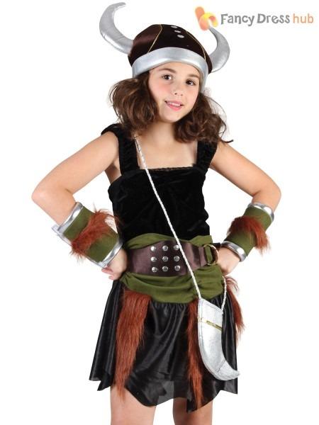 Girls Viking Costume Childs Saxon Fancy Dress Norse Warrior Book