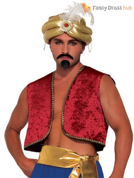 Adults Genie Vest Mens Aladdin Fancy Dress Waistcoat Bollywood