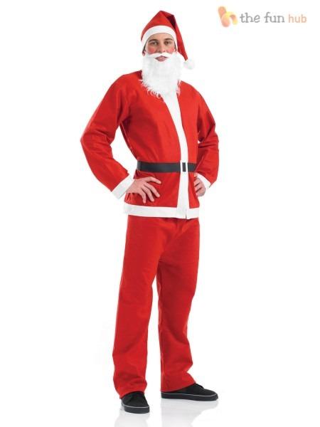 Mens Santa Suit Father Christmas Costume Festive Xmas Fancy Dress