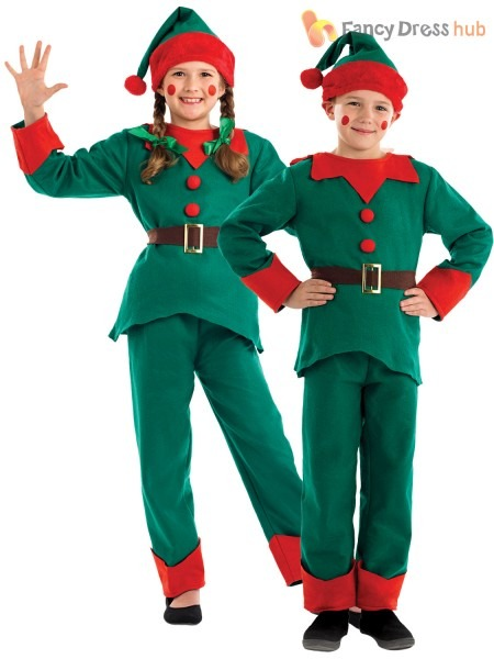 Child Elf Costume Boys Girls Christmas Fancy Dress Santas Little