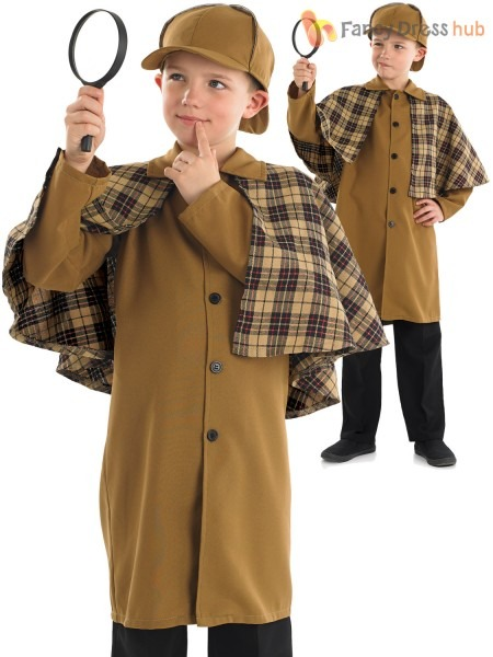 Boys Sherlock Holmes Costume Child Victorian Detective Fancy Dress