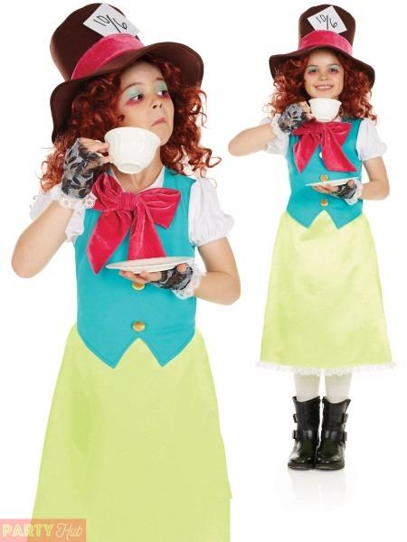 Girls Mad Hatter Costume Childs Miss Rabbit Fancy Dress Alice Book