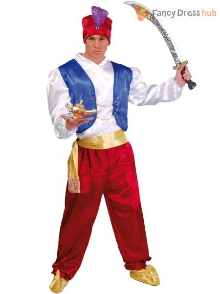 Mens Genie Costume Adults Aladdin Fancy Dress Arabian Prince