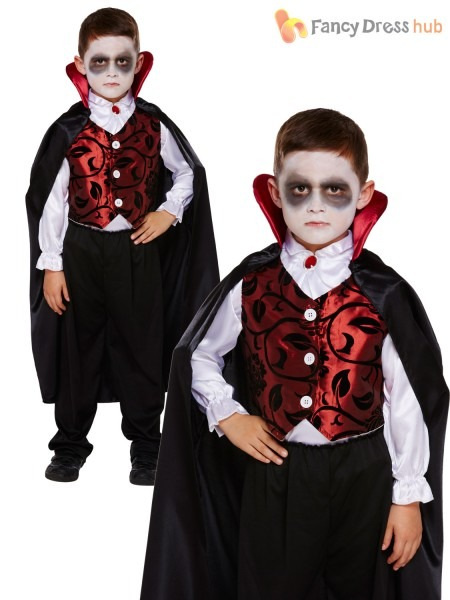 Childrens Deluxe Vampire Costume Boys Dracula Halloween Fancy