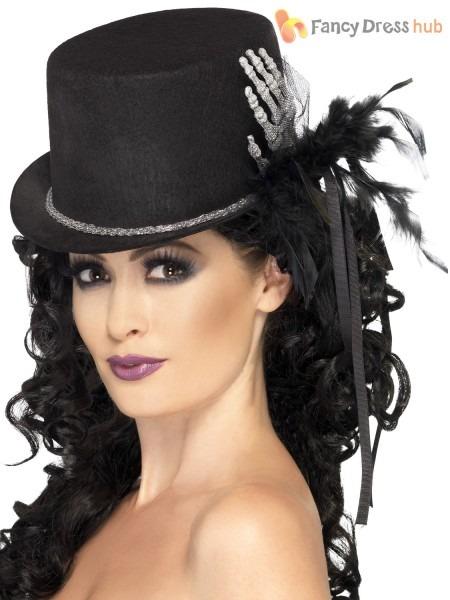 Ladies Black Skeleton Top Hat Halloween Fancy Dress Costume
