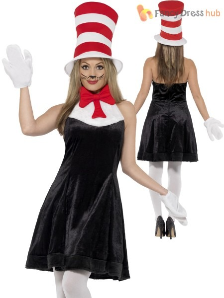 Ladies Cat In The Hat Costume Adults Dr Seuss Fancy Dress Outfit