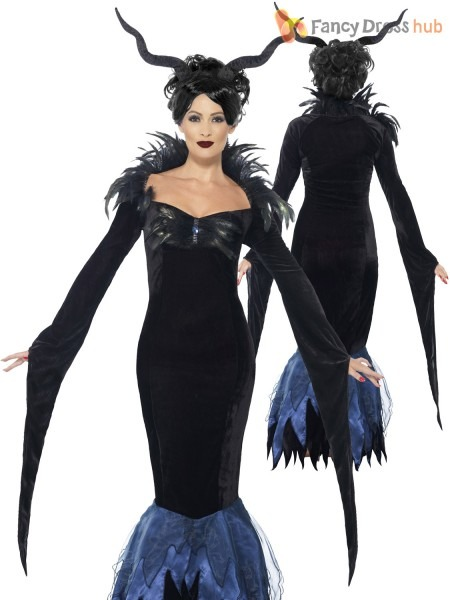 Ladies Evil Queen Costume Raven Maleficent Halloween Book Week