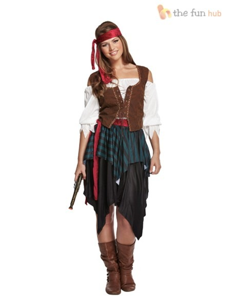 Ladies Caribbean Pirate Wench Fancy Dress Outfit Womens Adults