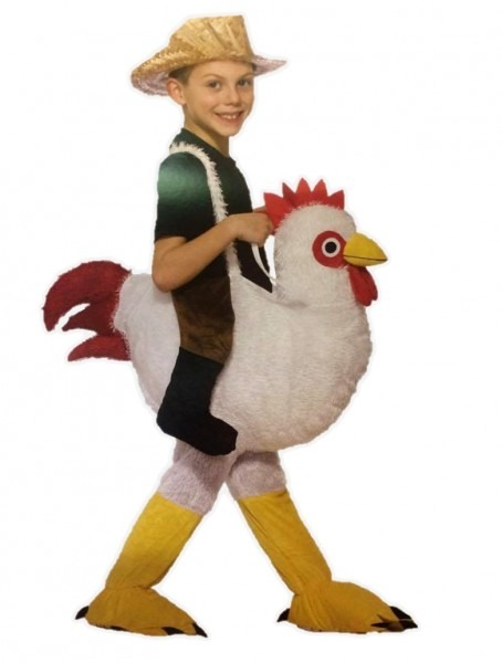 Ride On A Chicken Child Halloween Costume Farm Animal Rooster