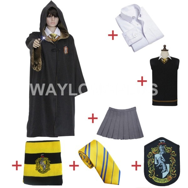 Harry Potter Cosplay Costume Hufflepuff Robe Cloak Skirt Shirt