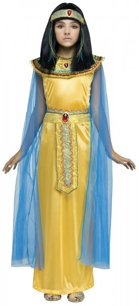 Girls Golden Cleo Halloween Costume Fancy Dress Cleopatra Egyptian