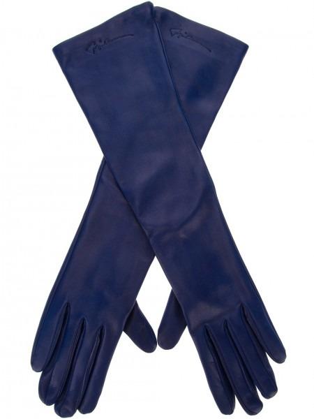 Giorgio Armani Long Leather Gloves In Blue