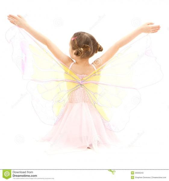 Girl Child In Kids Butterfly Ballerina Costume Stock Image