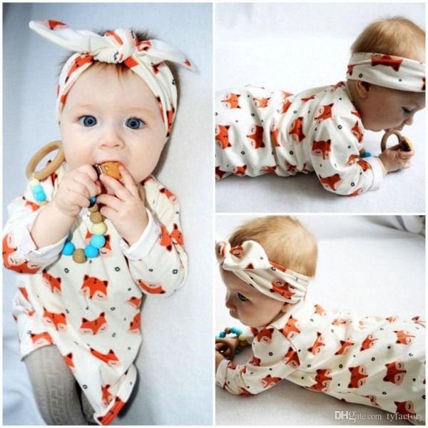 Girl Fox Dress Set Animals Costumes Headband Lovely Nightdress